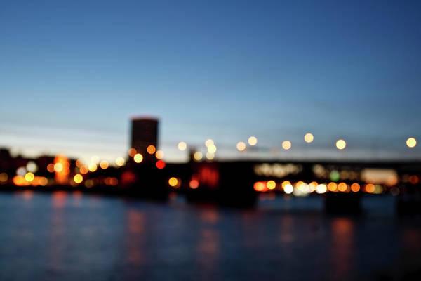 Burnside Bridge Photograph - Street Lights Illuminate In An Image by Jordan Siemens