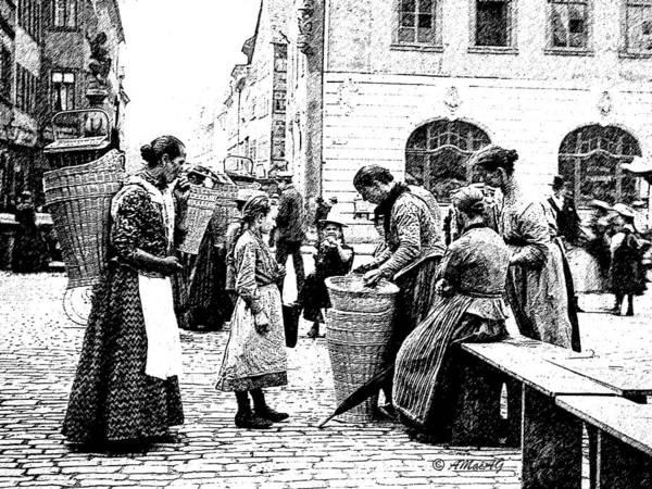Wicker Basket Digital Art - Street Market Coburg Germany 1903 Digital Etching by A Gurmankin