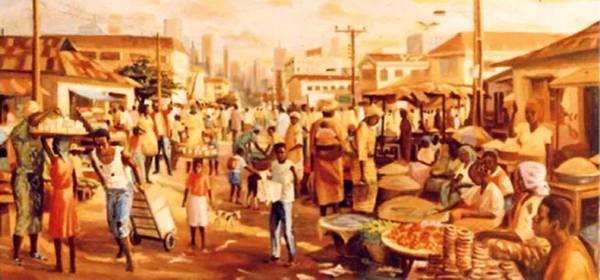Lagos Painting - Street Market by Murthada o  Lawal