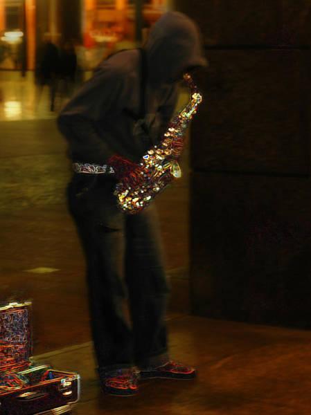 Photograph - Milan Saxophone Street Musician by Ginger Wakem