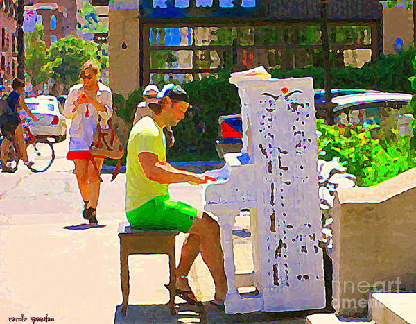 Painting - Street Pianist Plays Painted Public Piano Mont Royal Downtown Montreal Street Musicians C Spandau  by Carole Spandau