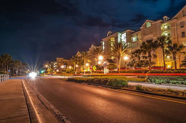 Photograph - Street Scene Near Hotels In Destin Florida At Night by Alex Grichenko