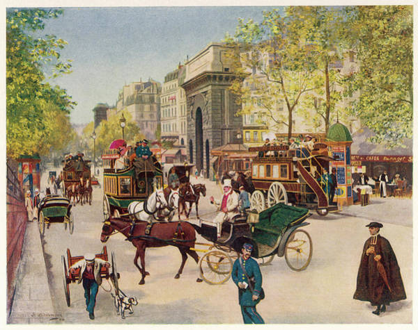 Wall Art - Drawing - Street Scene Near The Porte by Mary Evans Picture Library