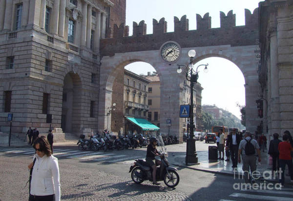 Photograph - Street Scene - Portoni Della Bra - Verona - Italy by Phil Banks
