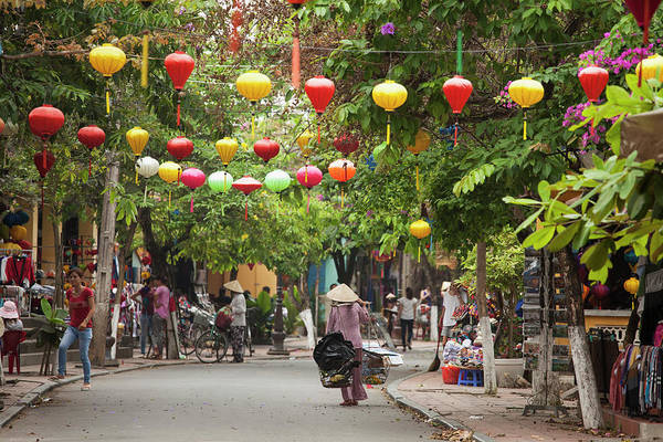 Hoi An Photograph - Street Scene With Silk Lanterns In Hoi by Judy Bellah