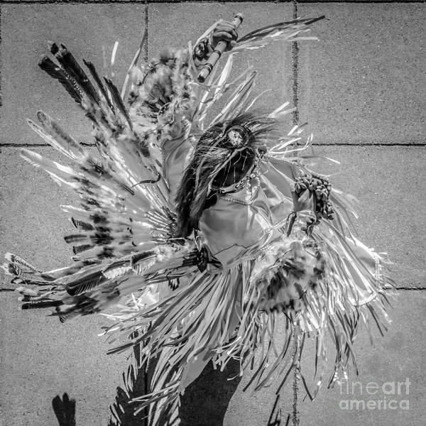 Street Performers Photograph - Street Shadow Dancer 1 - Black And White - Square Crop by Ian Monk