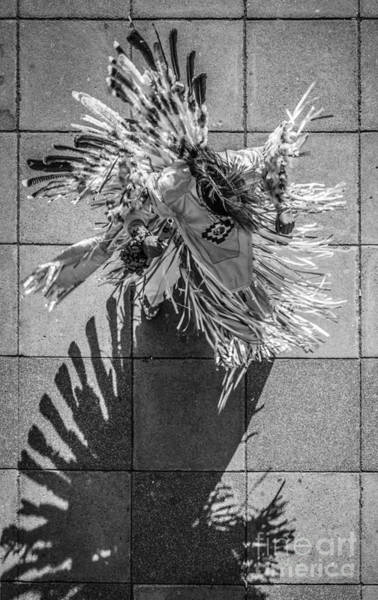 Street Performers Photograph - Street Shadow Dancer - Black And White by Ian Monk