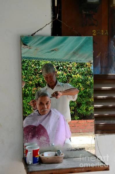 Street Side Barber Cuts Client Hair Singapore Art Print