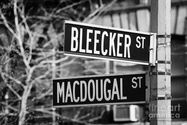 Wall Art - Photograph - street signs at junction of Bleeker st and Macdougal street greenwich village new york city by Joe Fox