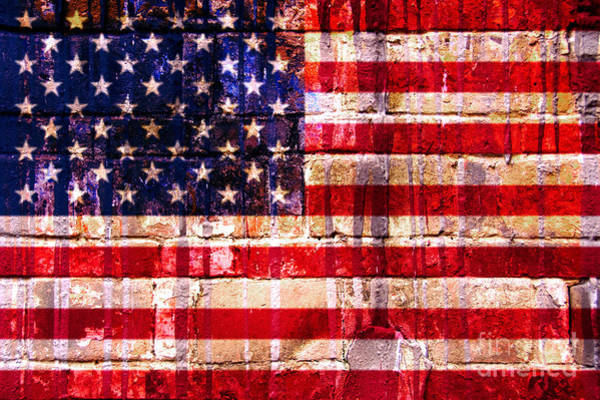 Red Brick Digital Art - Street Star Spangled Banner by Delphimages Photo Creations