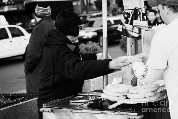 Service Dog Photograph - Street Vendor Selling And Handing Over Hot Dogs New York City by Joe Fox