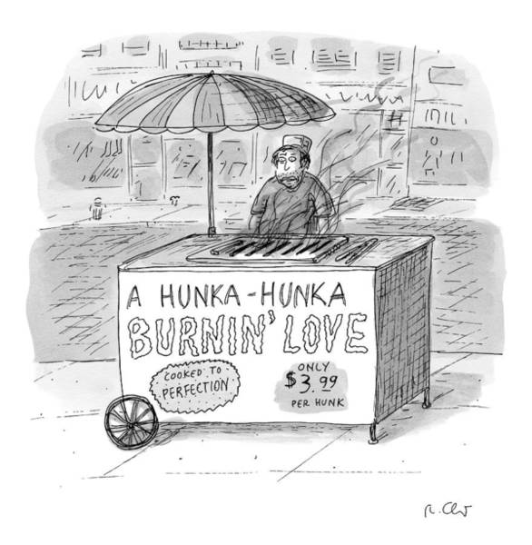 Cart Drawing - Street Vendor Stands Behind His Cart by Roz Chast