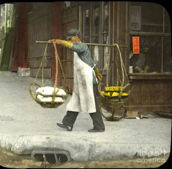 Photograph - street vendors carrying twin baskets suspended from shoulder San Francisco Chinatown circa 1900 by California Views Archives Mr Pat Hathaway Archives