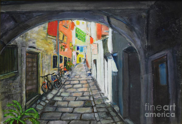 Painting - Street View 2 From Pula by Raija Merila