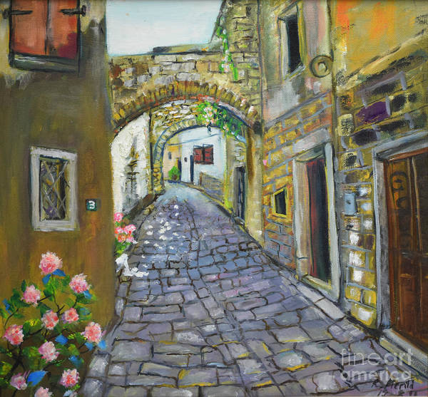 Painting - Street View In Pula by Raija Merila