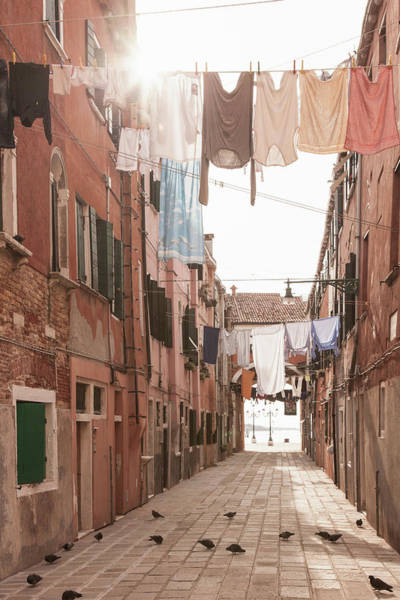 Vertical Perspective Photograph - Street With Laundry Lines, Venice, Italy by Cultura Rm Exclusive/walter Zerla