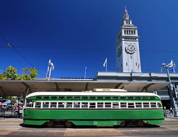 Tower Of David Photograph - Streetcar & Ferry Building San by David H. Carriere