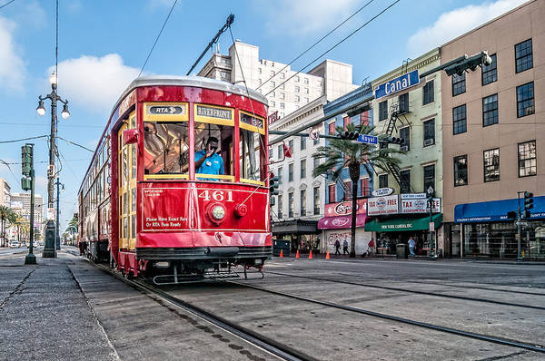 Photograph - Streetcar At The Corner Of Canal And Royal by Andy Crawford