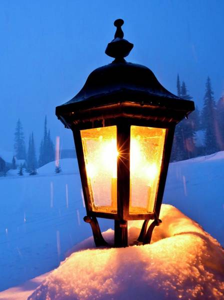Technological Photograph - Streetlight In A Ski Resort by David Nunuk/science Photo Library