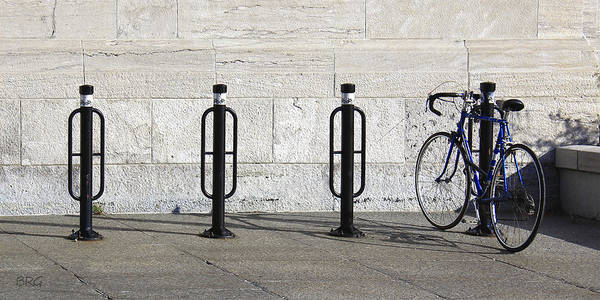 Bicycle Rack Photograph - Streets Of Montreal - Blue Bike by Ben and Raisa Gertsberg