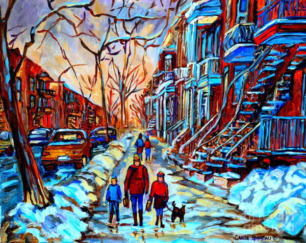 Plateau Wall Art - Painting - Streets Of Montreal by Carole Spandau