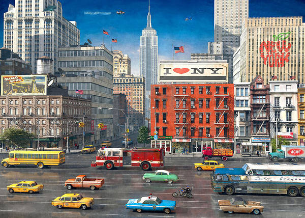Helicopter Painting - Streets Of New York by MGL Meiklejohn Graphics Licensing