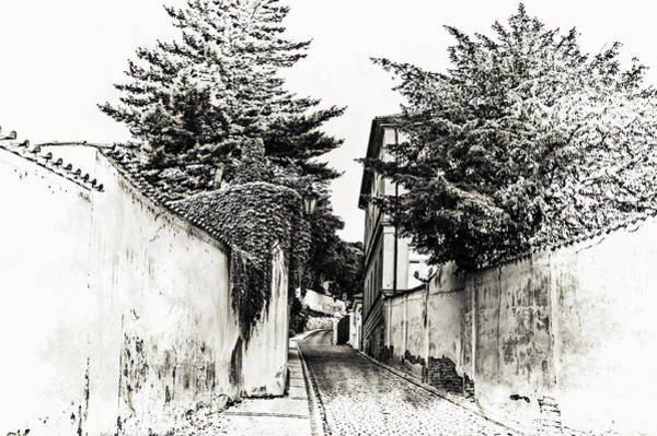 Photograph - Streets Of Old Prague 1. Black And White by Jenny Rainbow