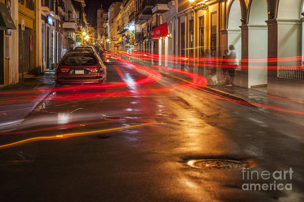 Photograph - Streetscene At Night In Old San Juan Puerto Rico by Bryan Mullennix