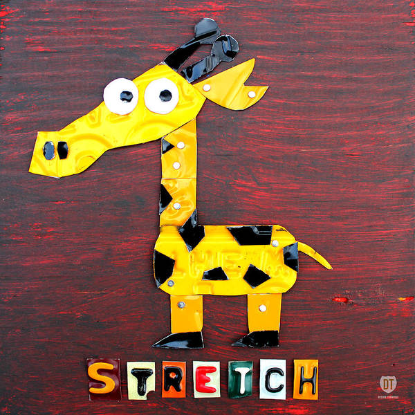 Recycling Mixed Media - Stretch The Giraffe License Plate Art by Design Turnpike