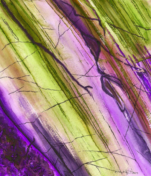 Wall Art - Painting - Striations In Eggplant by Rosemary Craig