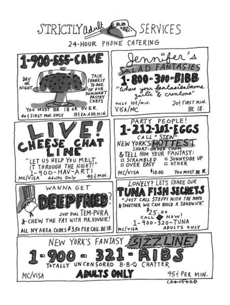 1993 Drawing - Strictly Adult Services 24-hour Phone Catering by Michael Crawford