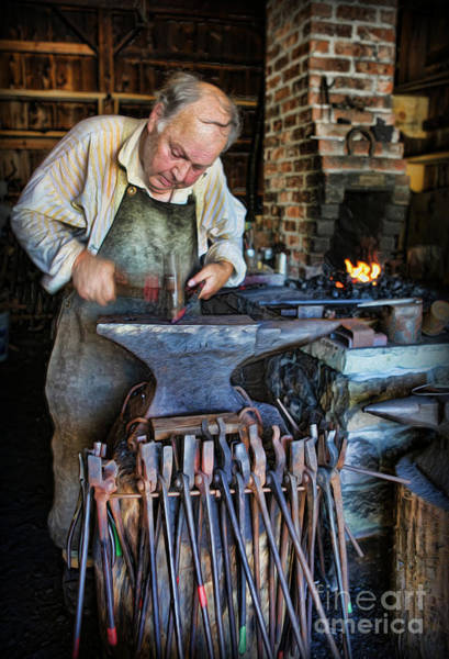 Farrier Photograph - Striking The Anvil - Blacksmith by Lee Dos Santos