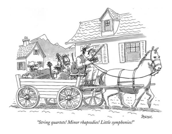 Classical Music Drawing - String Quartets! Minor Rhapsodies! Little by Jack Ziegler