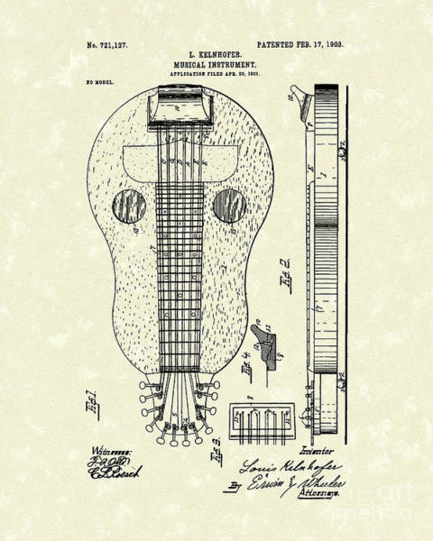 Wall Art - Drawing - Stringed Instrument 1903 Patent Art by Prior Art Design