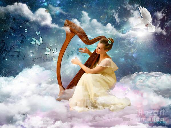 Harp Digital Art - Strings Of My Heart by Dolores Develde