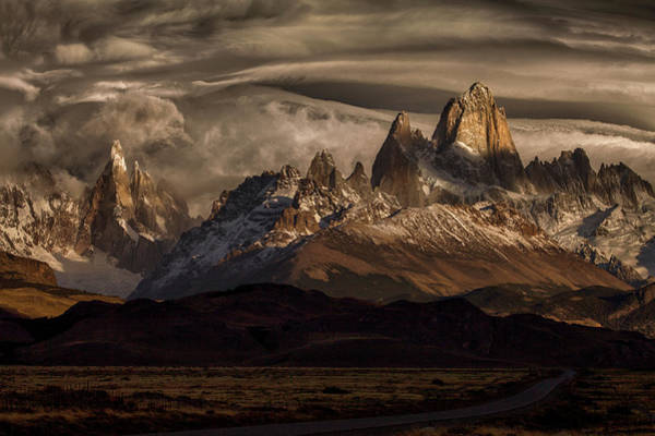 Mountain Range Photograph - Striped Sky Over The Patagonia Spikes by Peter Svoboda, Mqep