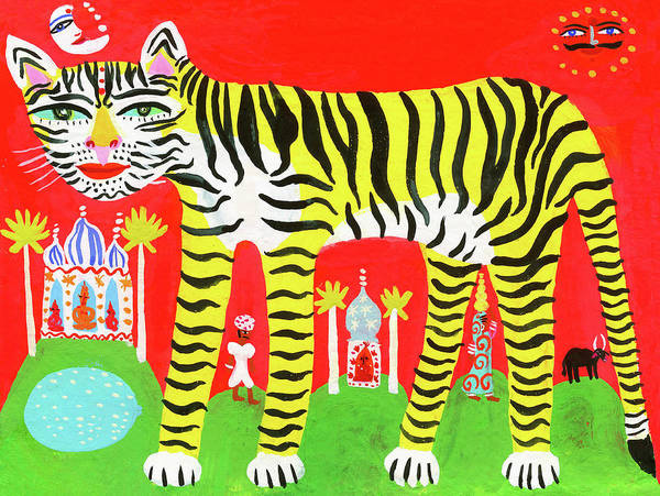 Exterior Digital Art - Striped Tiger In Traditional Indian by Christopher Corr