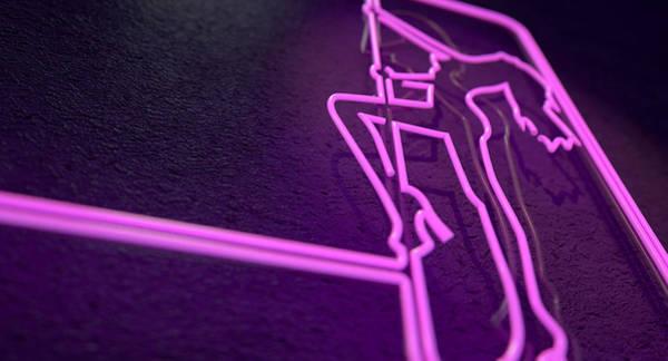 Neon Lights Digital Art - Stripper Sign by Allan Swart