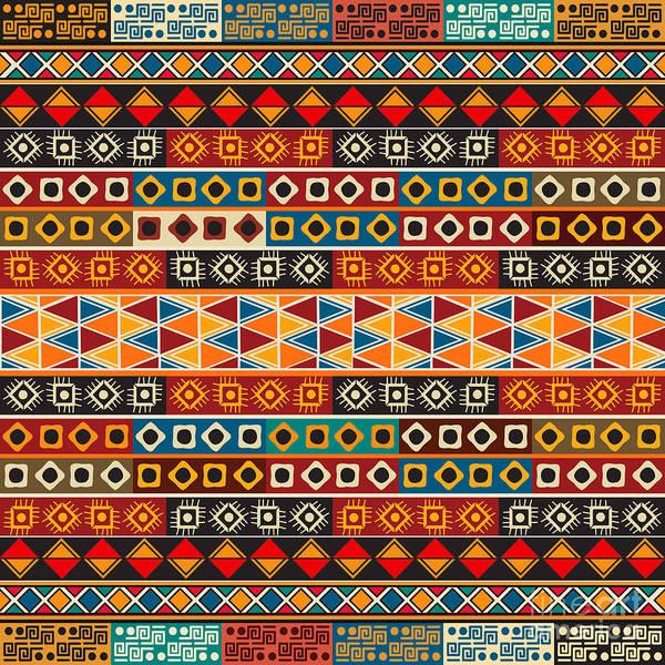 Aztec Digital Art - Strips Motifs Pattern by Richard Laschon