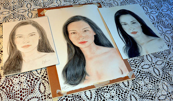 Freckle Drawing - Striving To Improve On My Drawing Of Lucy Liu  by Jim Fitzpatrick