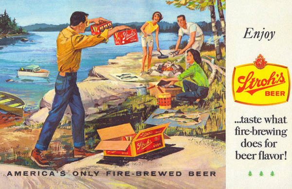 Restaurant Decor Drawing - Stroh's Campfire Ad by John Farr