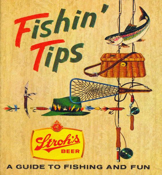 Restaurant Decor Drawing - Stroh's Fishin' Tips Ad by John Farr