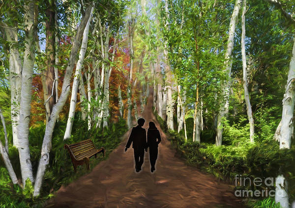 Wall Art - Digital Art - Stroll On Romantic Lovers Lane by Heinz G Mielke