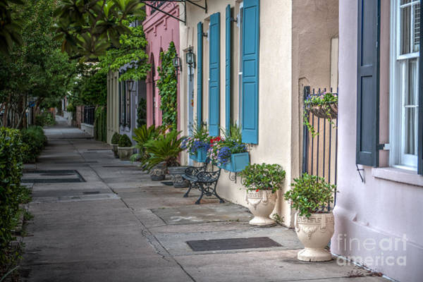 Photograph - Strolling Down Rainbow Row by Dale Powell