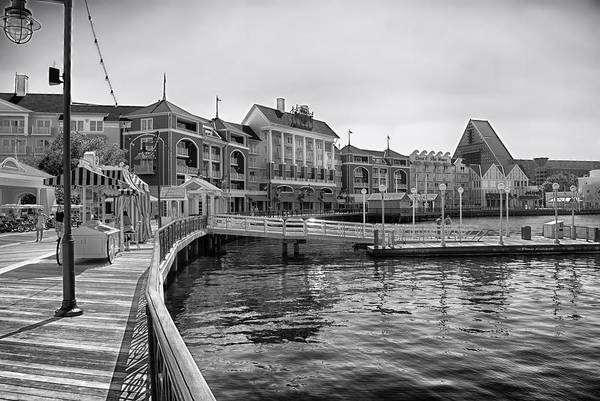 Wall Art - Photograph - Strolling On The Boardwalk In Black And White Walt Disney World by Thomas Woolworth