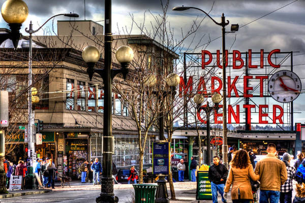 Market Place Photograph - Strolling Towards The Market - Seattle Washington by David Patterson
