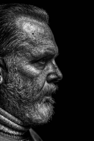 Look Away Photograph - Strong B&w Portrait Of A Rugged Looking by Cmannphoto
