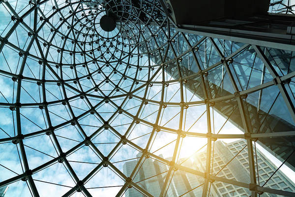 Photograph - Structural Glass Facade Curving Roof Of by Witthaya Prasongsin