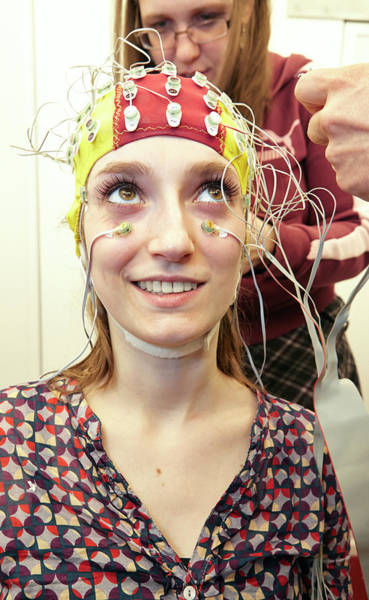 Class Photograph - Student Wired For A Eeg Experiment by Ps Unlimited/oxford University Images