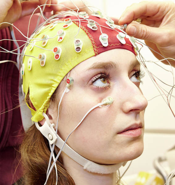 Class Photograph - Student Wired For An Eeg Experiment by Ps Unlimited/oxford University Images